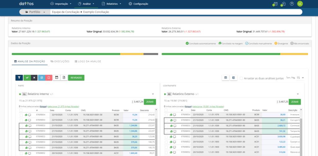 Print da plataforma Dattos Recon em sua tela de análise