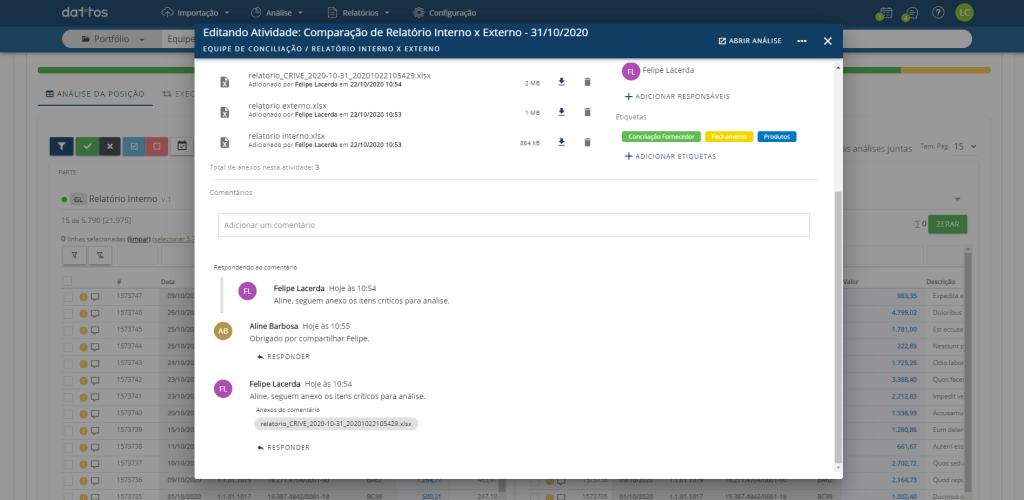 Print da plataforma Dattos Recon apresentando a investigação colaborativa