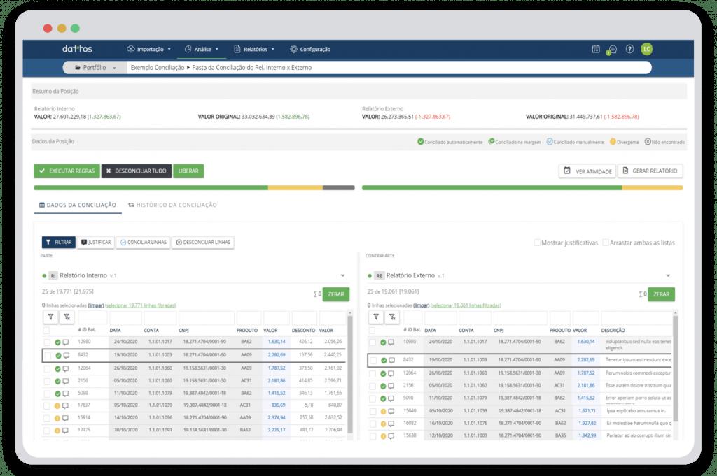Plataforma de automação e conciliação de dados Dattos