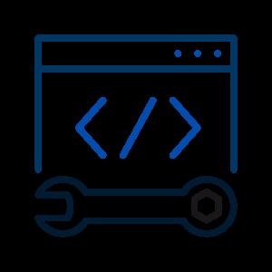 Ícone de um browser com uma marcação de código e uma chave de rosca representando o departamento de tecnologia