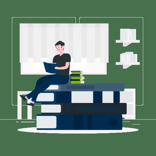Ilustração com usuário sobre livros enquanto realiza uma leitura