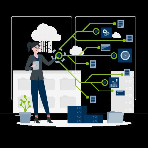 Ilustração demonstrando a organização e fluxo dos dados