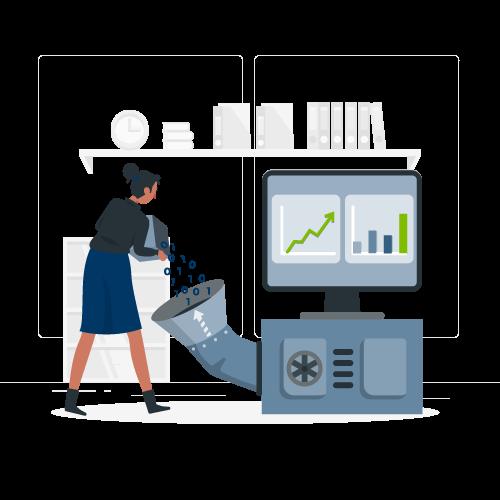 Ilustração de usuário automatizando a conciliação dos dados