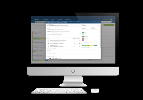 Computador mostrando a tela de atividade da plataforma Dattos Tasklist